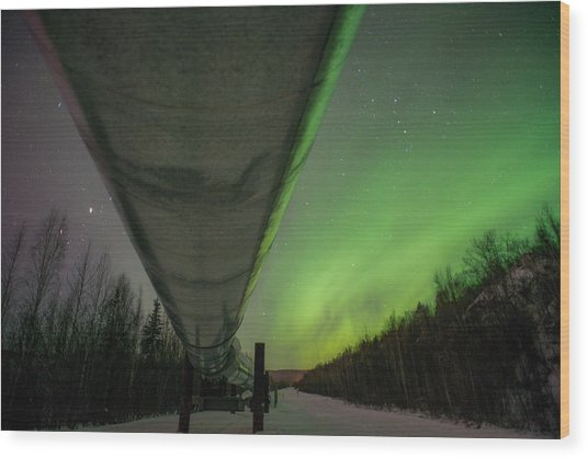 Pipeline And Aurora Wood Print