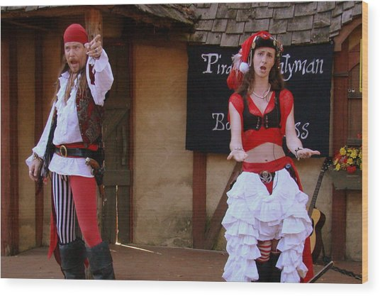 Pirate Shantyman And Bonnie Lass Wood Print