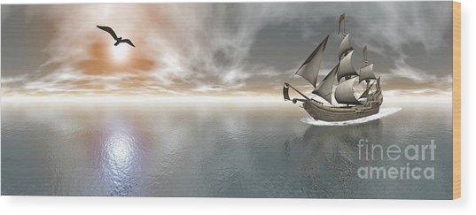 Pirate Ship Sailing The Ocean Wood Print