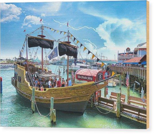 Pirate Ship Wood Print by Stephen Warren