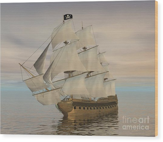 Pirate Ship With Black Jolly Roger Flag Wood Print