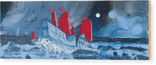 Pirate Ships In A Storm In The  South China Sea Wood Print by Glenn  Russell