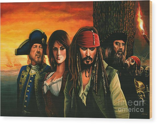 Pirates Of The Caribbean  Wood Print
