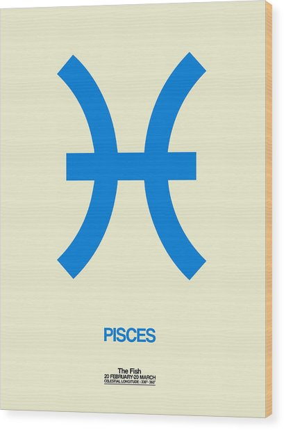 Pisces Zodiac Sign Blue Wood Print