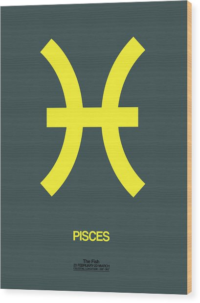 Pisces Zodiac Sign Yellow Wood Print