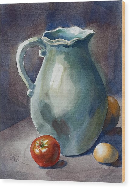 Pitcher With Tomato Wood Print by Pablo Rivera