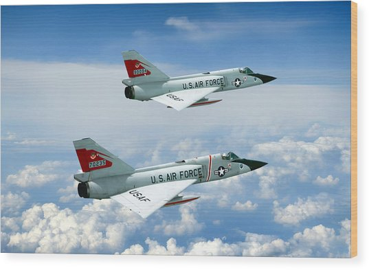 Pitching Darts F-106 2-ship Wood Print by Peter Chilelli