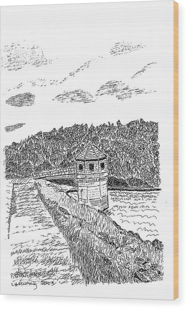 Pittsburg Dam Wood Print