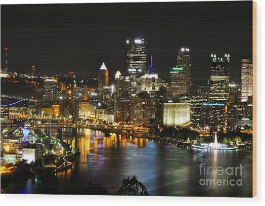 Pittsburgh Autumn Night 1 Wood Print