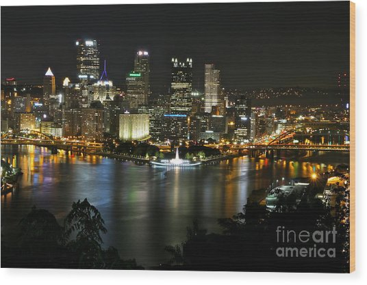 Pittsburgh Autumn Night 2 Wood Print
