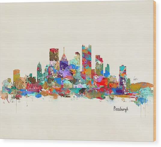 Pittsburgh Skyline Pennsylvania Wood Print