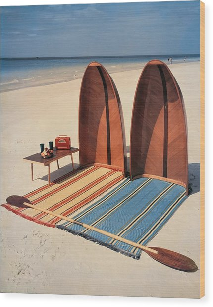 Pixie Collapsible Boat On The Beach Wood Print