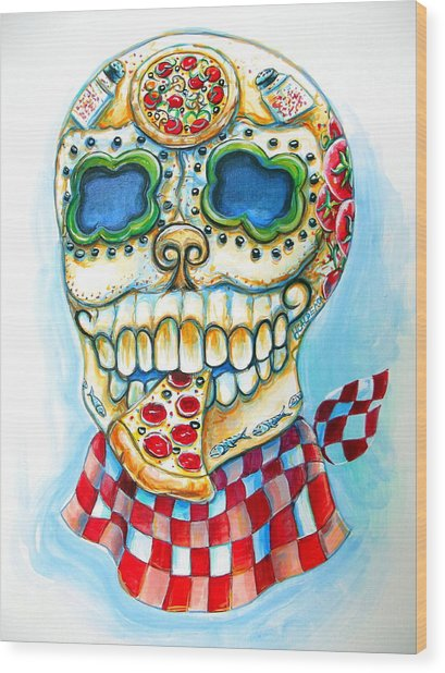 Pizza Sugar Skull Wood Print