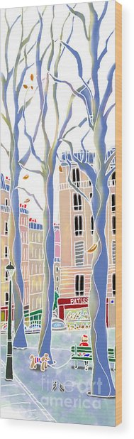 Wood Print featuring the digital art Place Emile Goudeau by Hisayo Ohta