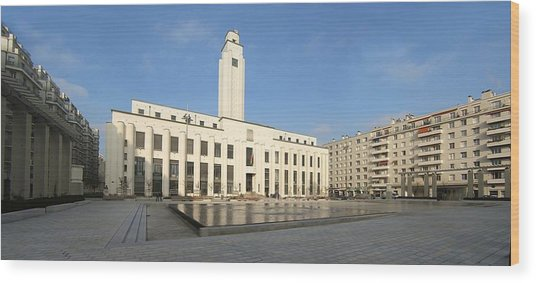 Hotel De Ville Fermant La Place Lazare Goujon Wood Print