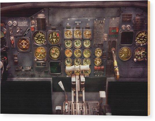 Plane - Cockpit - Boeing 727 - The Controls Are Set Wood Print