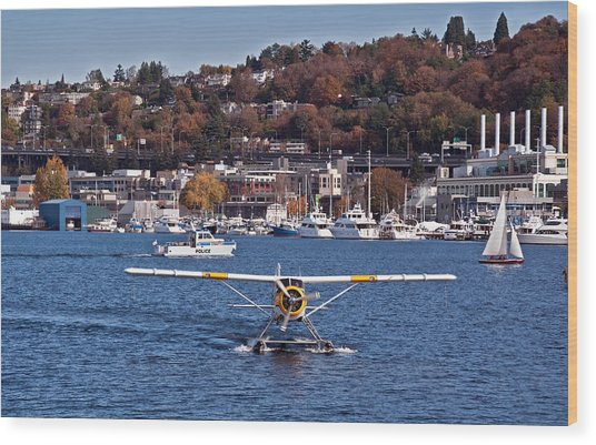 Plane On Lake Union Seattle Wood Print