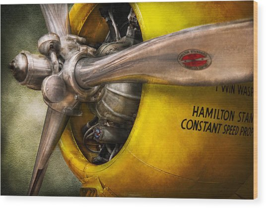 Plane - Pilot - Prop - Twin Wasp Wood Print