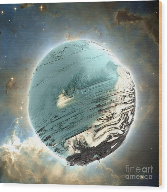 Planet Blue Wood Print by Bernard MICHEL