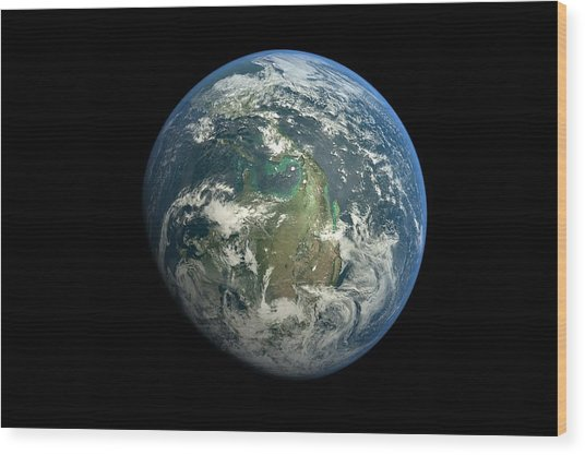 Planet Earth Against Black Background Wood Print by Vitalij Cerepok / Eyeem