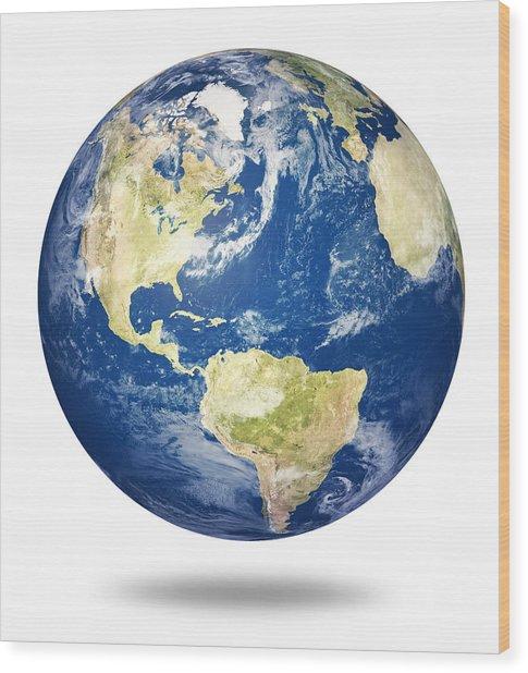 Planet Earth On White - America Wood Print