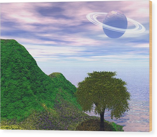 Planet Fall Wood Print