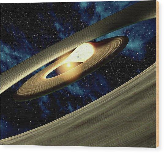 Planet Forming Disk Distortion Wood Print by Nasa/jpl-caltech