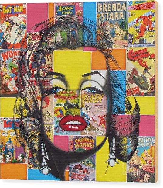 Planet Marilyn Wood Print