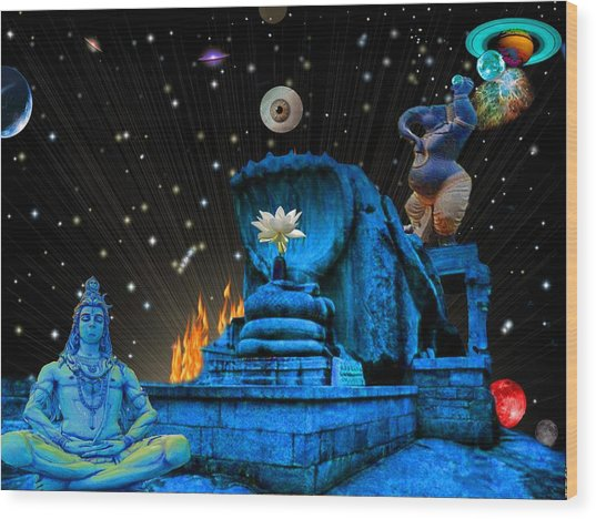 Planet Of Shiva  Wood Print by Jason Saunders