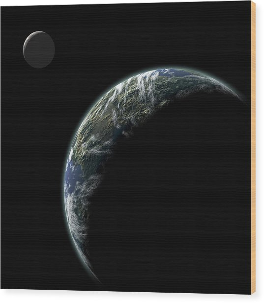 Planet With Moon No.2 Wood Print