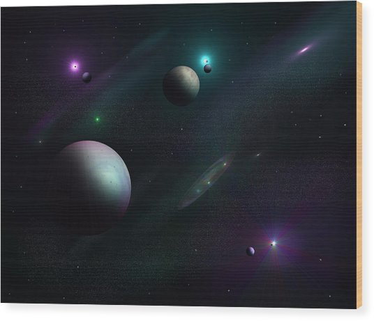 Planets Beyond Our Solar System Wood Print by Ricky Haug