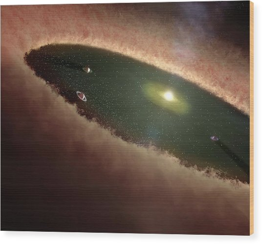 Planets Forming Around A Star Wood Print by Nasa/jpl-caltech/t. Pyle (ssc)