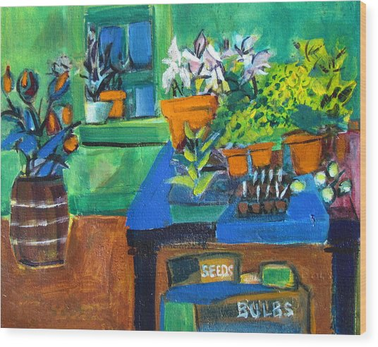 Plants In Potting Shed Wood Print