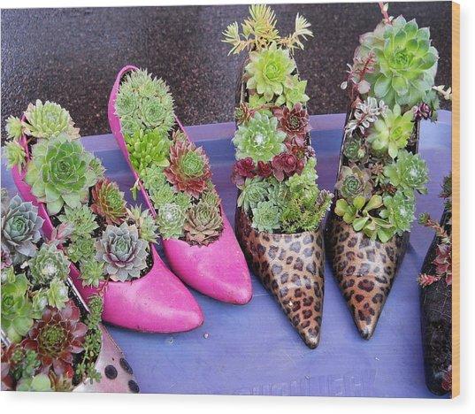 Plants In Pumps Wood Print