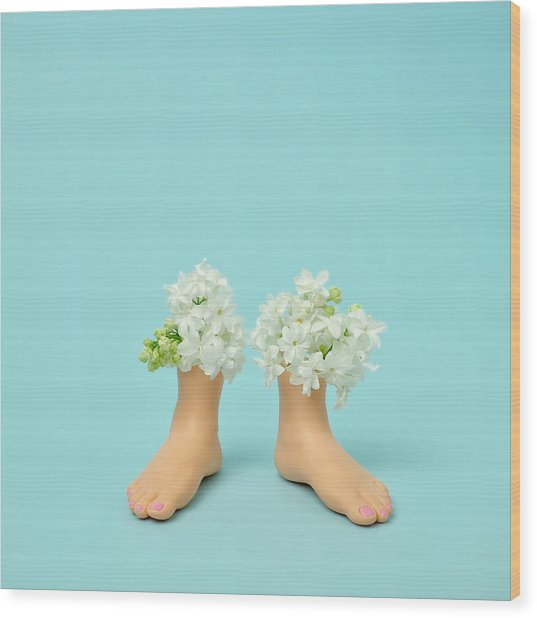 Plastic Feet Filled With Flowers Wood Print