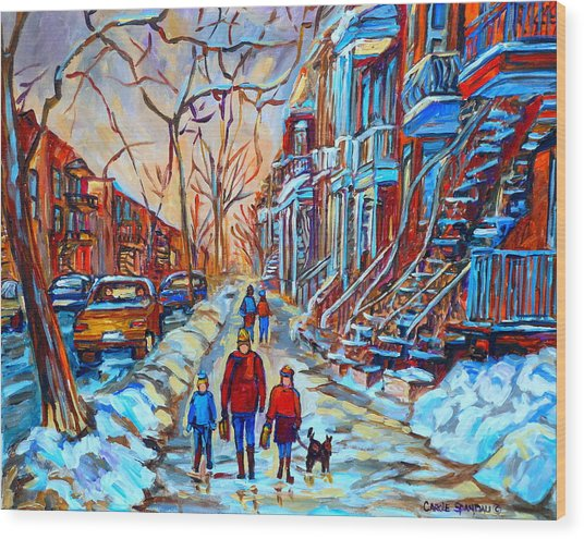 Plateau Montreal Street Scene Wood Print