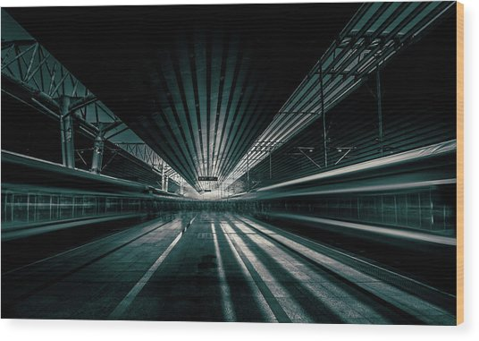 Platform Beijing Wood Print by Baidongyun