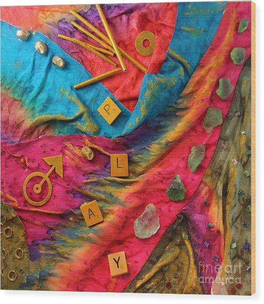 Play Silk Collage Wood Print