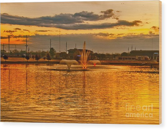 Wood Print featuring the photograph Playa Lake At Sunset by Mae Wertz