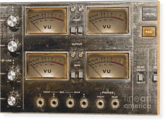 Playback Recording Vu Meters Grunge Wood Print