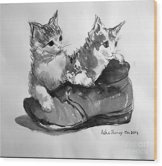 Playful Kittens Wood Print