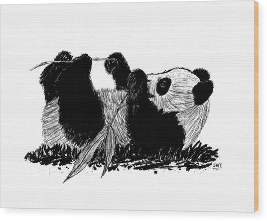 Playful Panda Wood Print