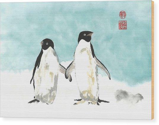 Playful Penguins  Wood Print