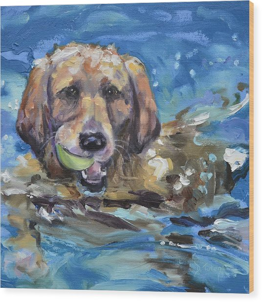 Playful Retriever Wood Print