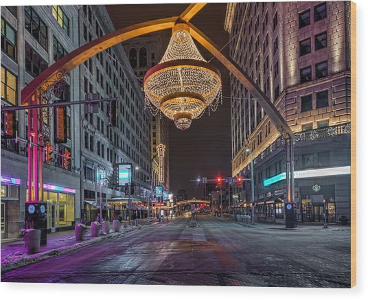 Playhouse Square Chandelier  Wood Print