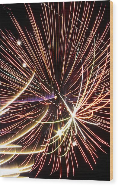 Playin With Fireworks Wood Print