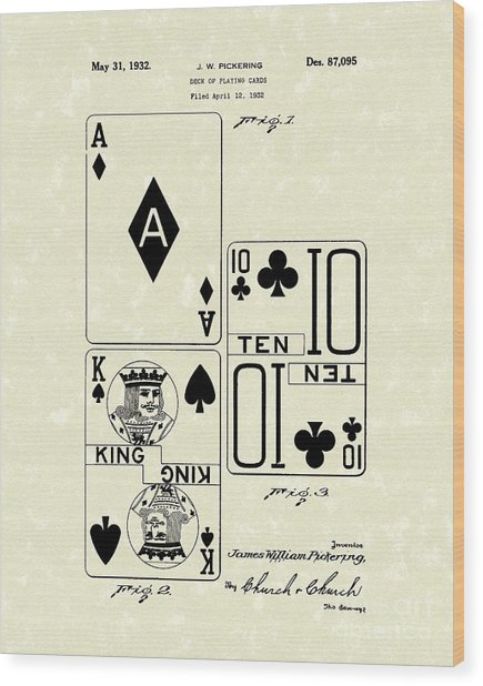Playing Cards 1869 Patent Art Wood Print