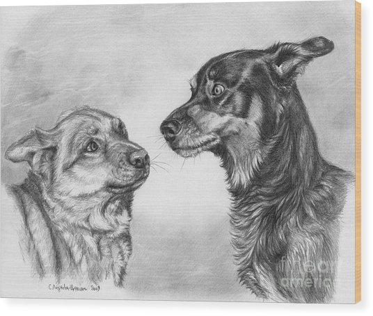 Playing Dog's Emotions Wood Print by Svetlana Ledneva-Schukina