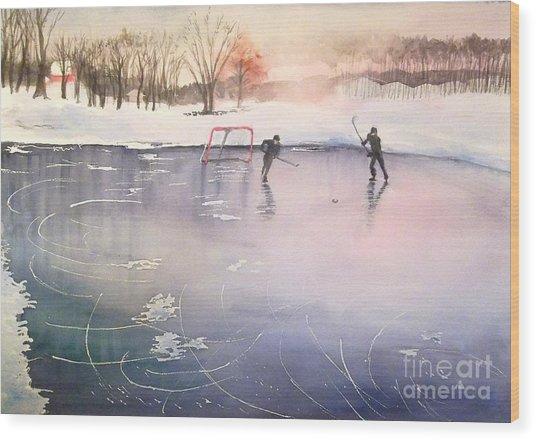 Playing On Ice Wood Print