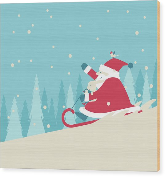 Playing Snow Sled Wood Print by Akindo